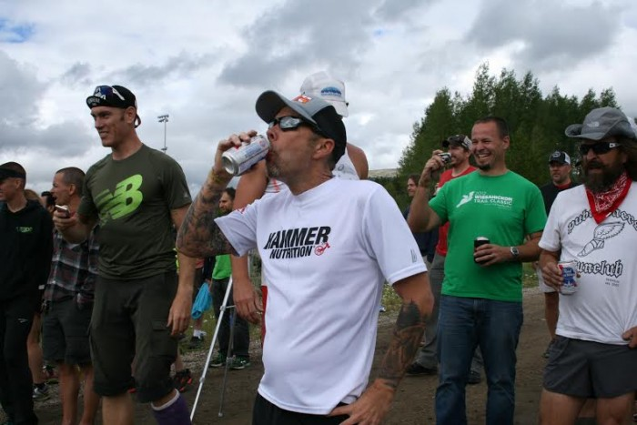 "Kelly Agnew and other runners power up for a ""beer mile"" mile competition"
