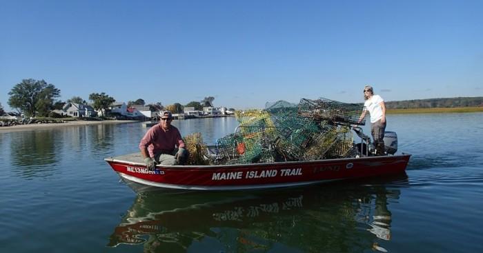 Boat hauling trash