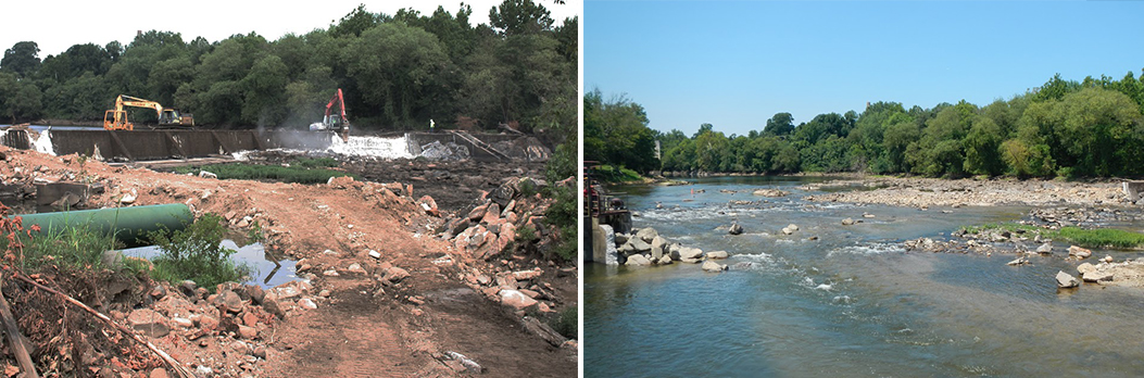 Removal of the Harvel Dam along the Appomattox River in Virginia.