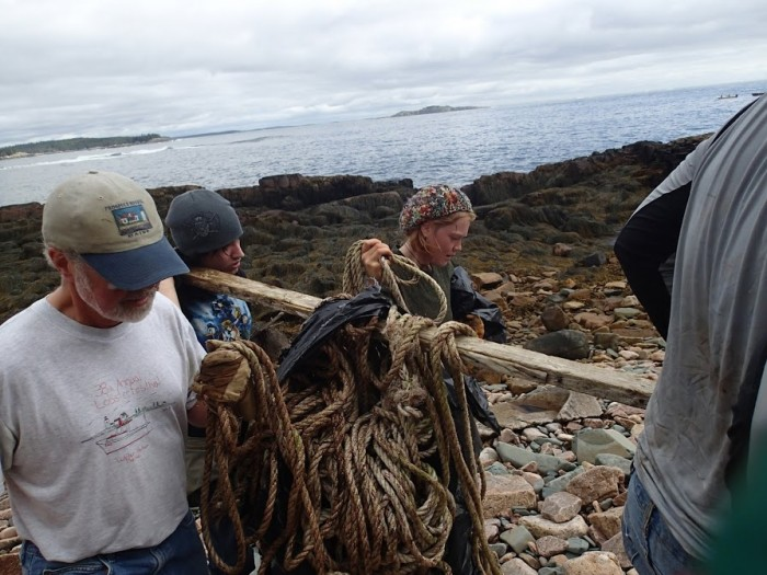 Old rope is recovered during a coastal cleanup.