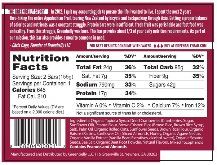 Label Cranberry Almond Back
