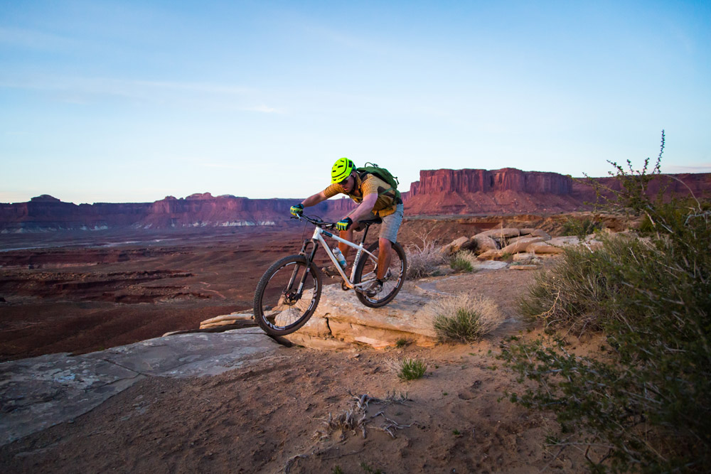 Casey Krueger riding the Advocate Cycles Hayduke on the White Rim in Canyonlands National Park, Utah.