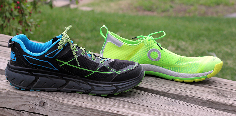 Hoka (left) compared to a minimal shoe by Skora