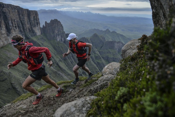 Ryan Sandes and Ryno Griesel performs during their pracetice for the Drakensberg Grand Traverse, set in the Drakensberg mountains, South Africa on February 17th, 2014  // Kelvin Trautman / Red Bull Content Pool // P-20140326-00142 // Usage for editorial use only // Please go to www.redbullcontentpool.com for further information. //