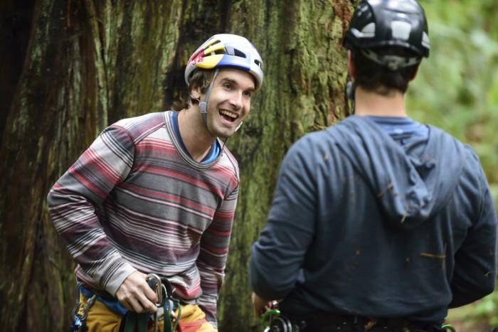 Sharma climbing redwood
