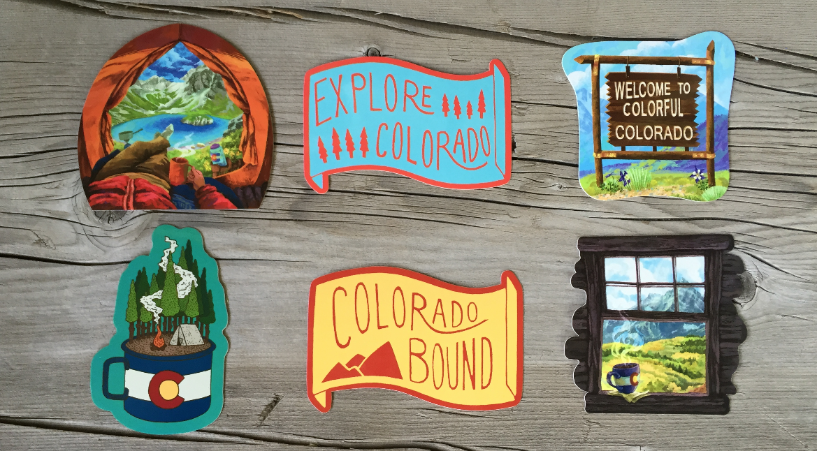 Explore colorado in stickers