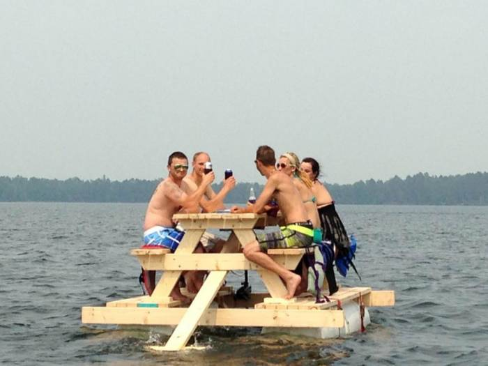 Party Barge Picnic Table Equipped With Motor Pontoon Floats - Motorized picnic table for sale