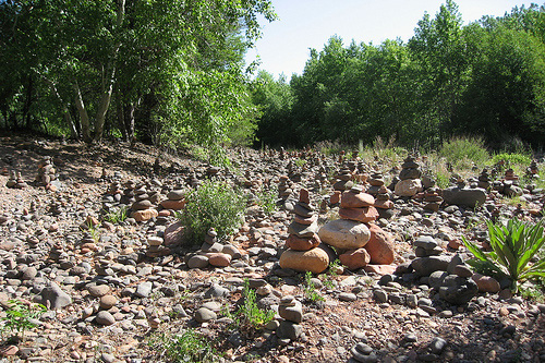 rock stacking cairn