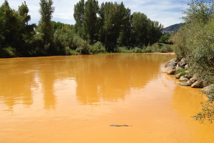 The river turned a mustardy-Tang color as the wastewater moved through. This was taken about 24 hours after the spill; photo by Jonathan Thompson
