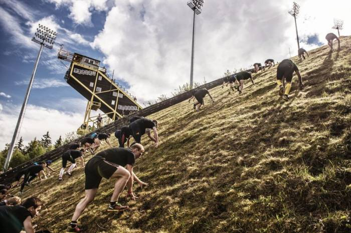 Competitors perform at the Red Bull 400 in Harrachov, Czech Republic on 13th September 2014