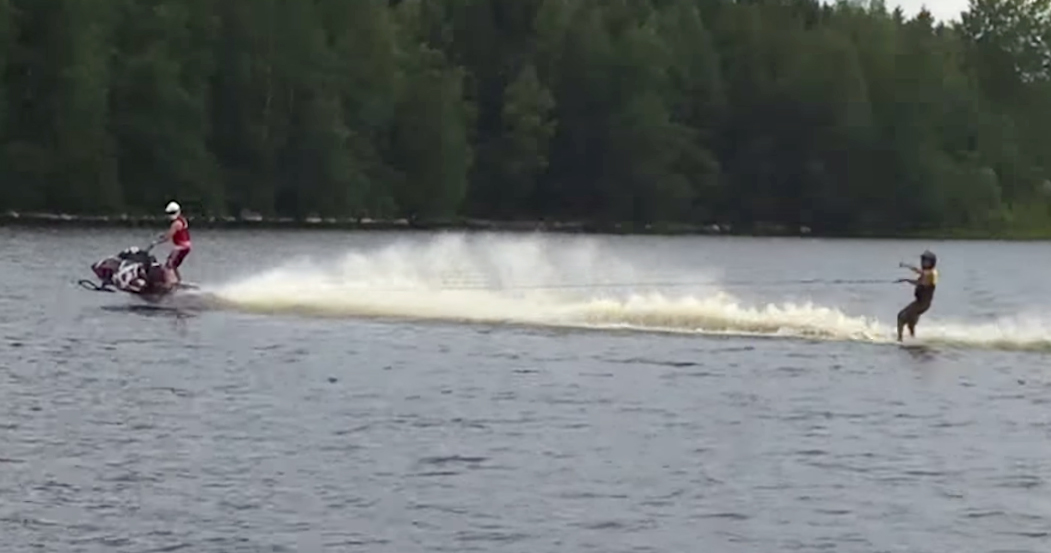 Water Skiing Behind A Snowmobile