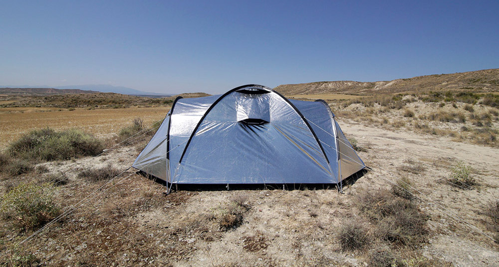 & Shiny u0027Metalu0027 Fabric Tent Reflects Heat