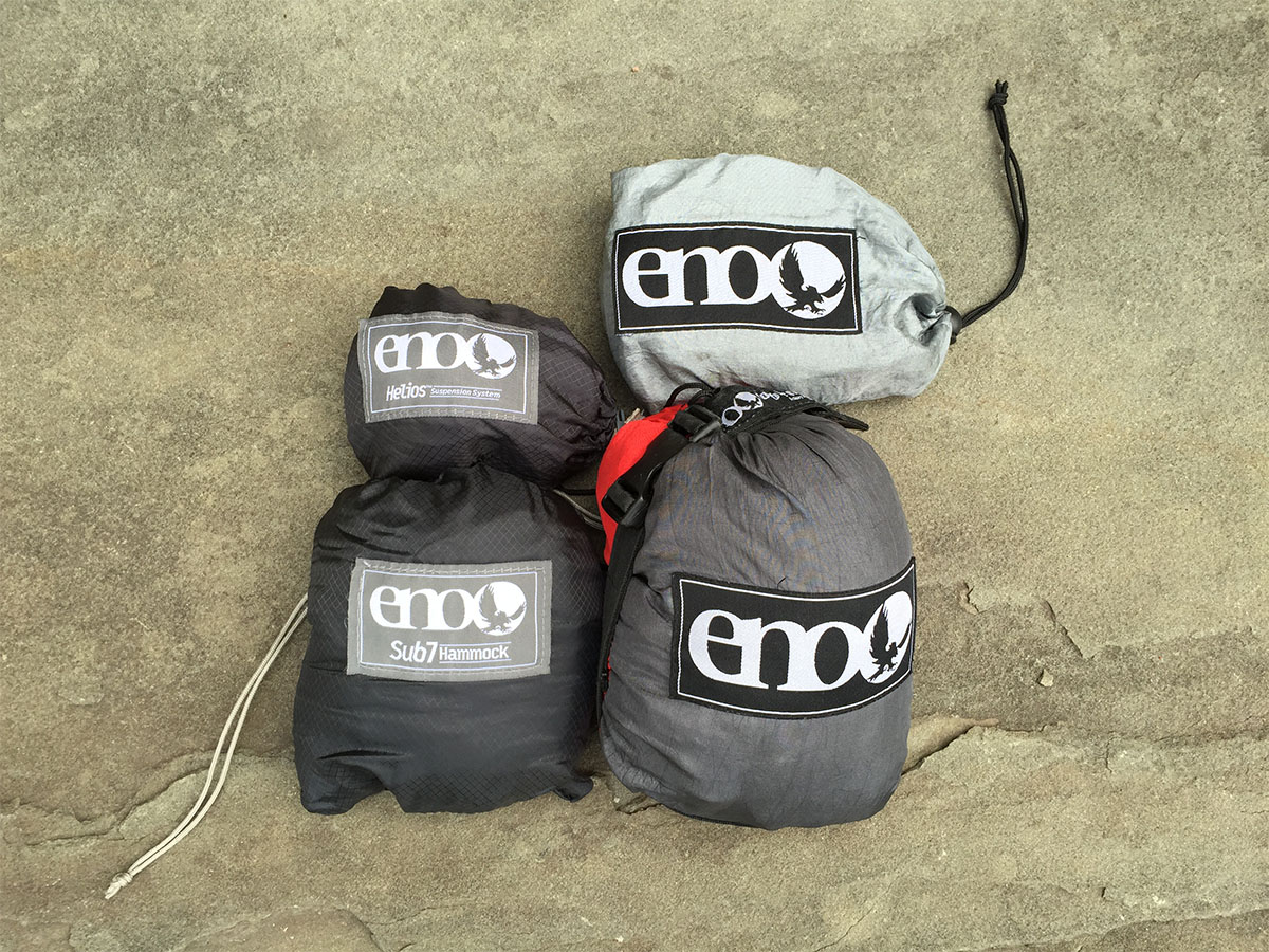 ENO Sub7 Hammock and Helios Straps vs ENO DoubleNest Hammock and Atlas Straps Size