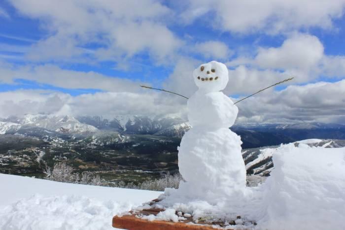 big Sky September snow man