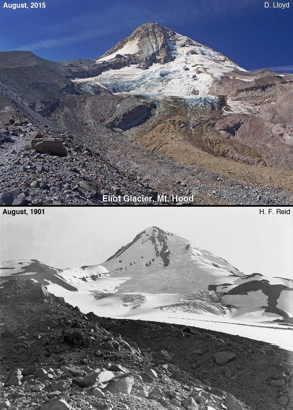 The Palmer Snowfield is near the Eliot Glacier on Mt. Hood. Historic photos compare the glacial mass of August 1901 to August 2015. Darryl Lloyd
