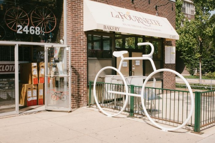 Giant bike rack at Cycle Smithy. Chicago, IL.