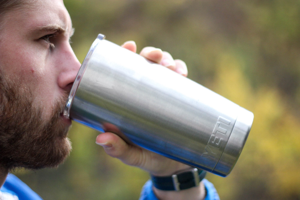 Yeti Rambler Tumbler drinking