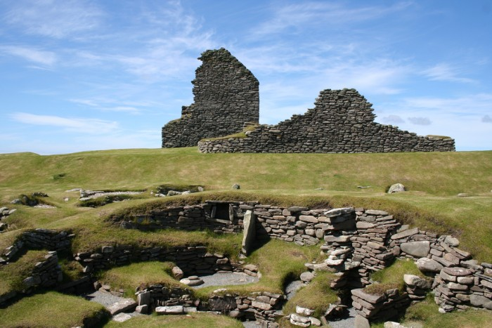 Structures spanning thousands of years of living in Jarlshof; photo by Murray Barnes