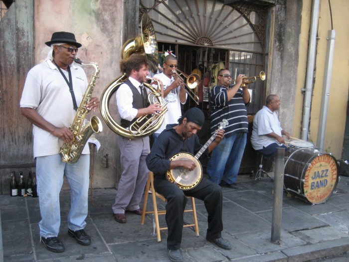 Preservation Hall Jazz Band plays on St. Peter Street, French Quarter; photo by Infrogmation of New Orleans