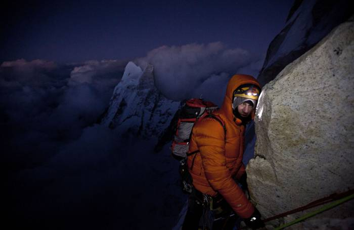Renan Ozturk looking good during the long descent descent from the summit back to the portaledge camp after 17 hours on the move.