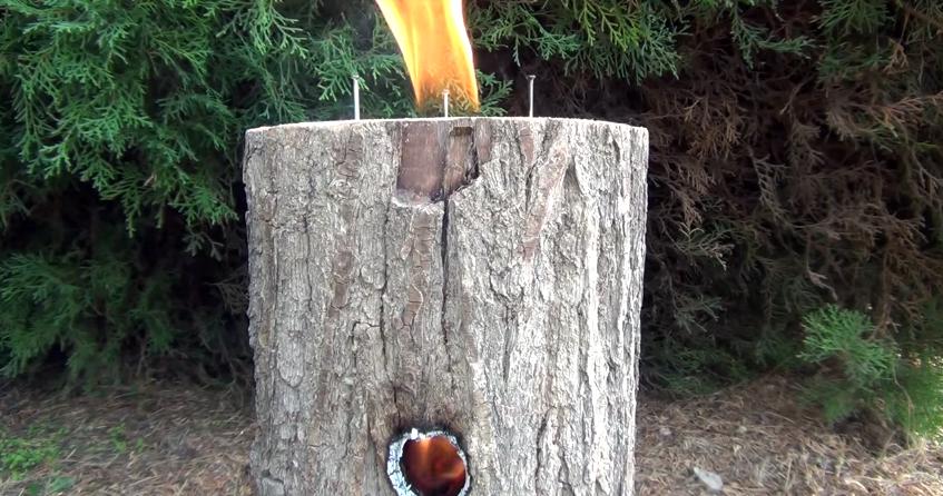 Log + Drill = Rocket Stove!