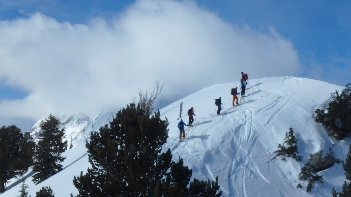 A group tours the Wasatch backcountry; photo by Sean McCoy