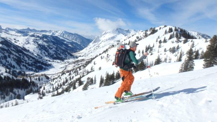 A skier tours the Wasatch backcountry in 2015; photo by Sean McCoy