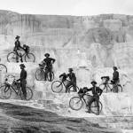 """Bicyclists' group on Minerva Terrace.  [Lt. James A. Moss's company of 25th Infantry, U. S. Army Bicycle Corps, from Fort Missoula, Montana.]  YNP."" October 7, 1896."