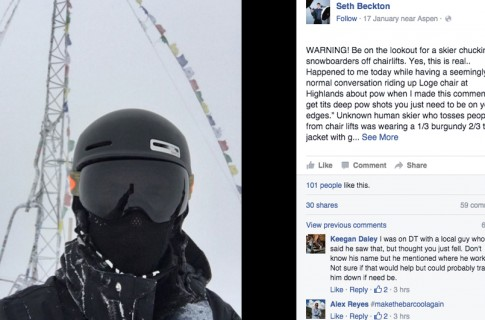 skier shoves snowboard off chairlift