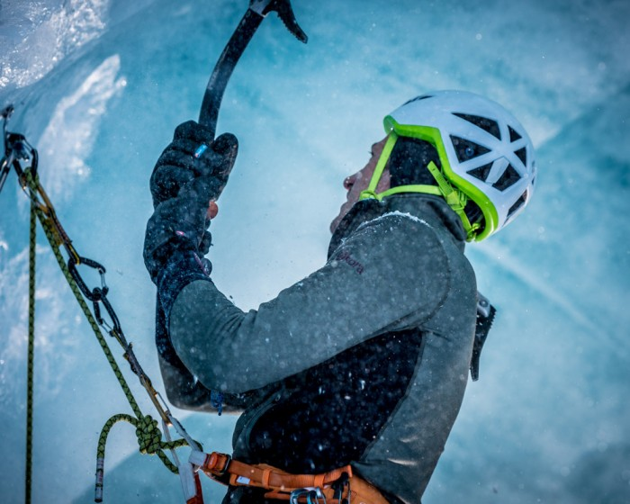 Jon Gupta and Sofia Hansson ice climbing in Mer de Glace, Chamonix. Shot for Kora.