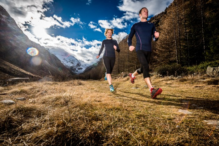 Jon Gupta and Sofia Hansson hike and trail run in Cogne, Val d'Aosta, Italy. Shot for Kora.