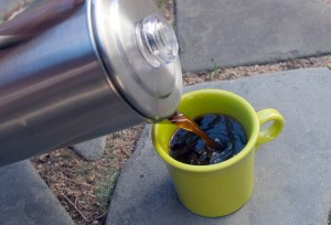 percolator coffee outdoors