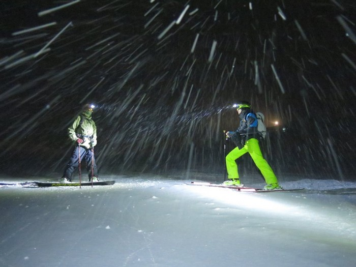 snowboarding in the dark