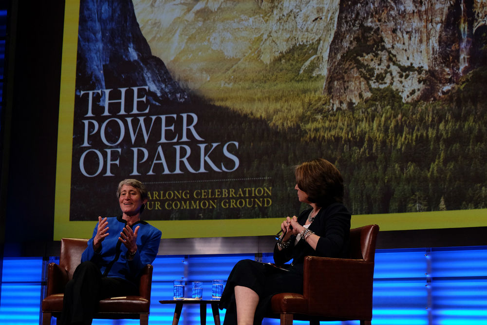 Secretary Jewell answers questions with Susan Goldberg of National Geographic Magazine Tuesday.