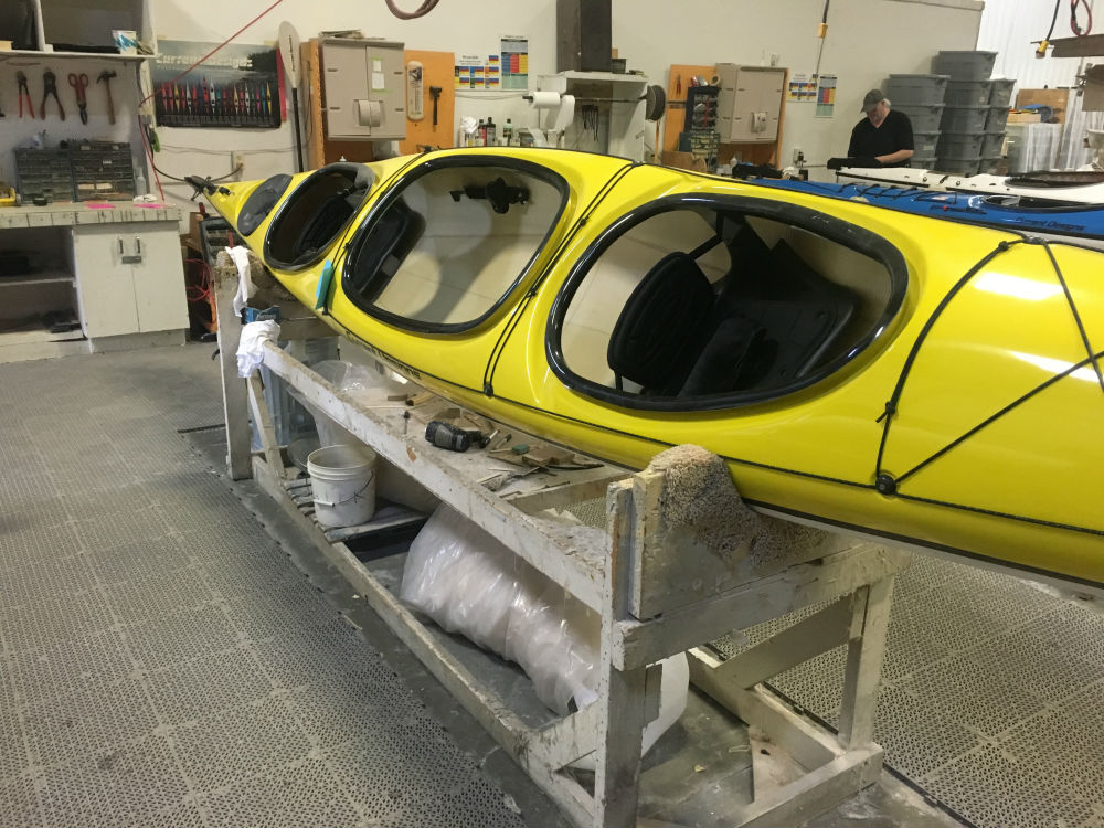 The prototype for the new Wilderness Inquiry kayak in the final stages of production / Photo credit: Grant Armour
