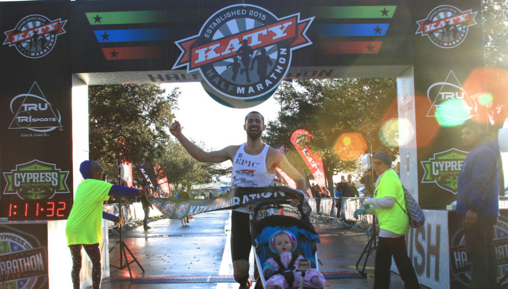 crossing finish line stroller