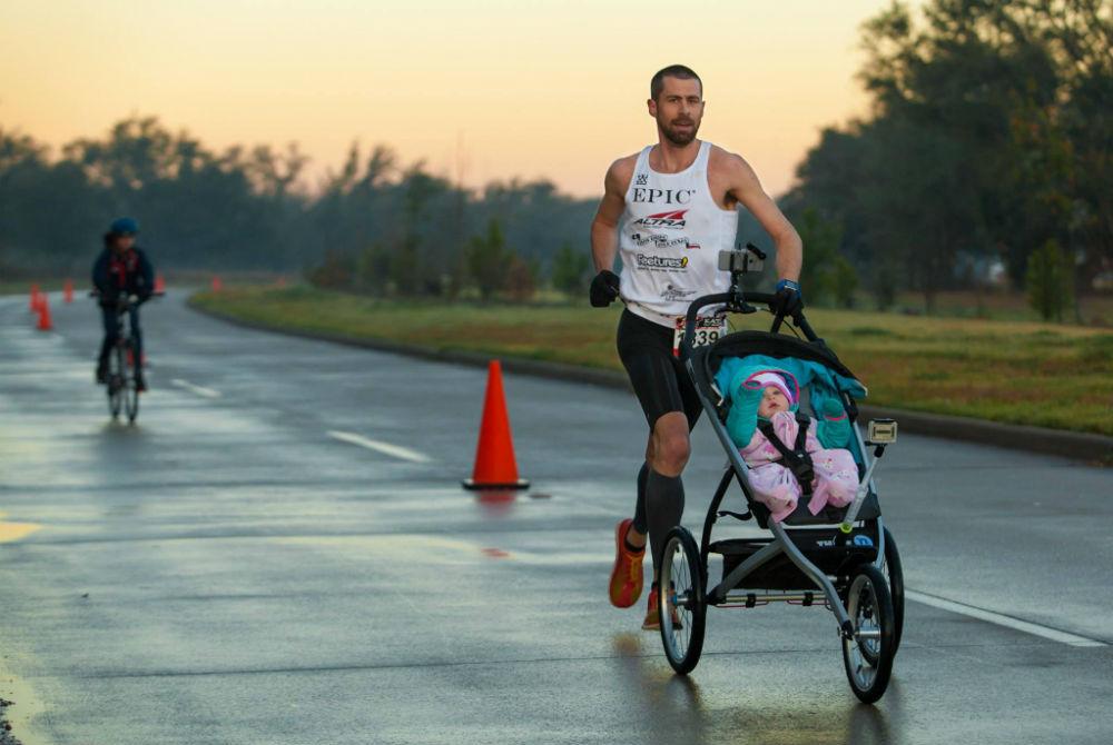 mid-stride stroller running