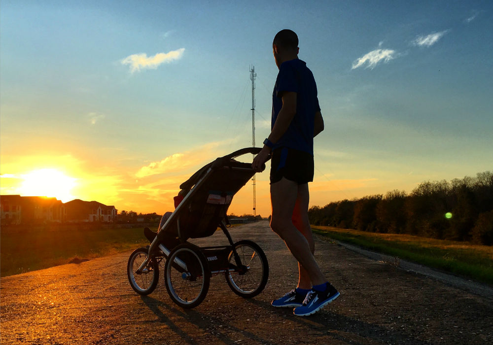 running stroller sunset
