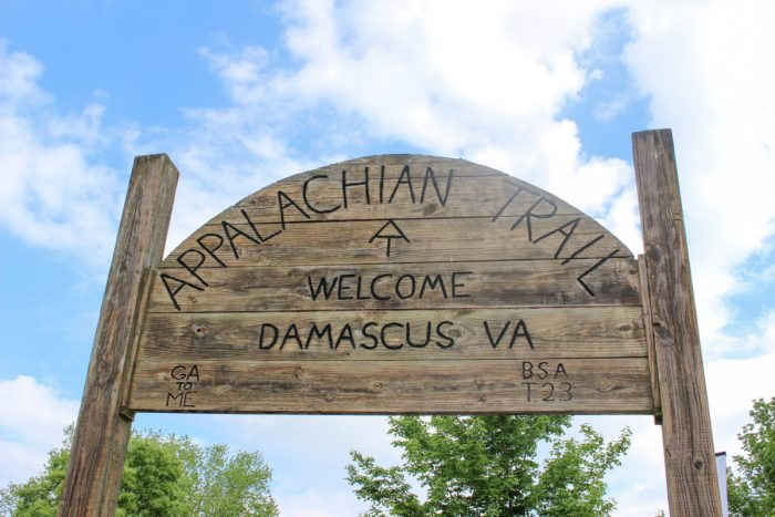 Appalachian Trail AT Sign in Damascus, Virginia