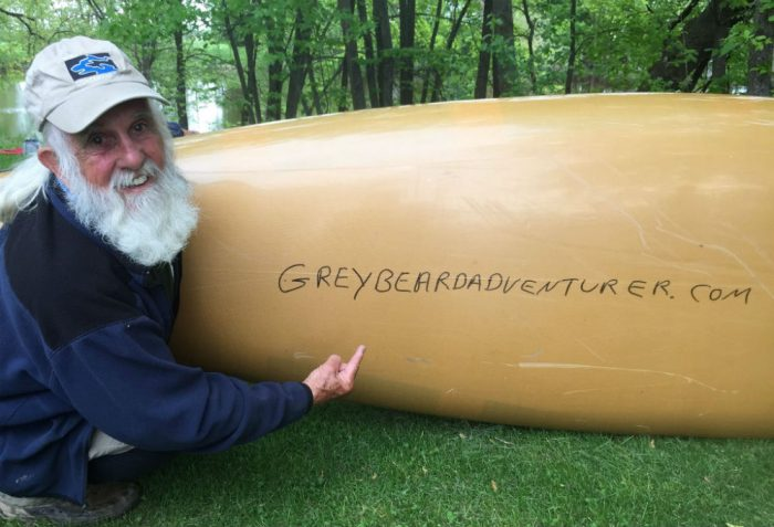 The Greybeard Adventurer website was launched as a platform to gather support for Sanders's Mississippi and Appalachian Trail trips