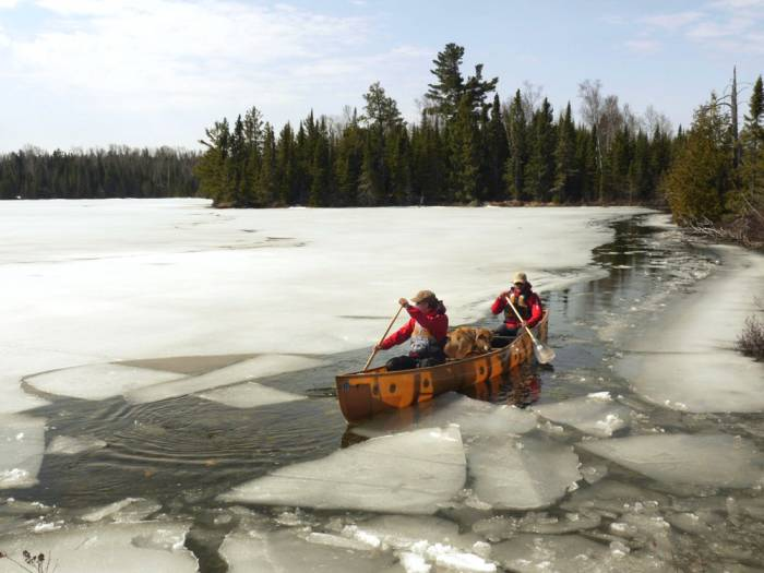 ice out boundary waters canoe