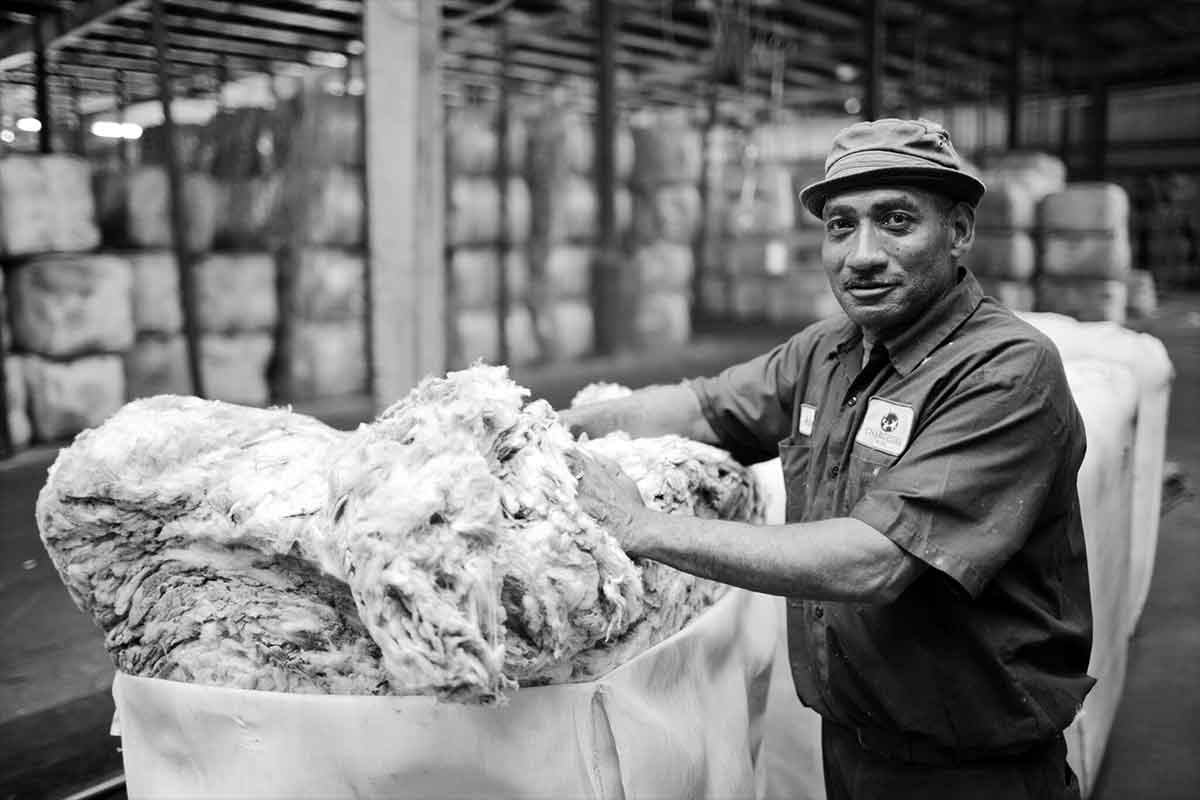 worker at Jamestown, S.C., wool-processing plant