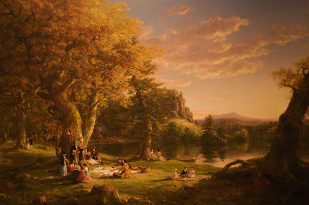 Idyllic rendering of Mother's Day picnic in the park