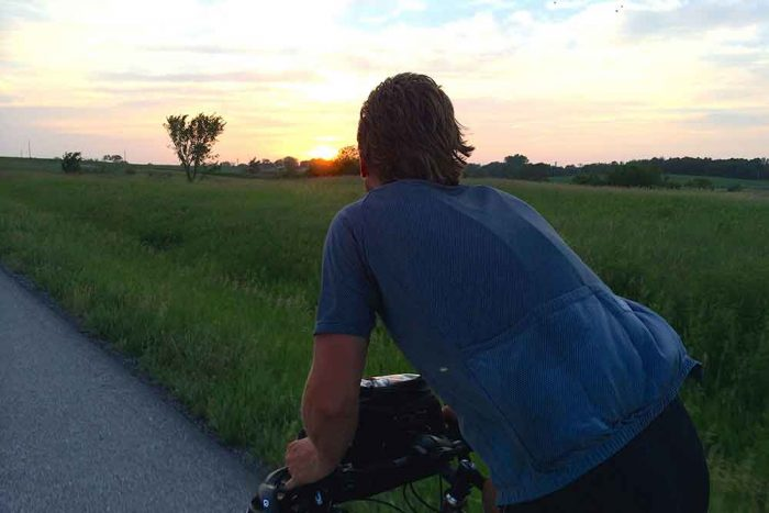 sunrise in the country on a bike
