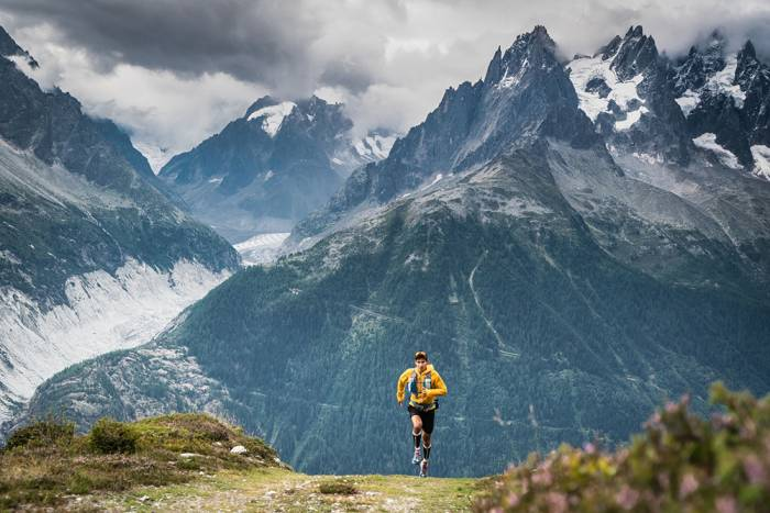 Runner Sage Canaday in the alps outside Chamonix, France