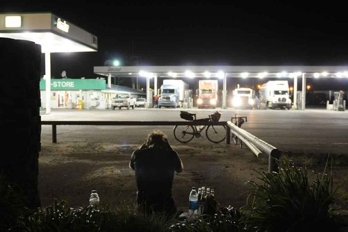 truck stop and a bike