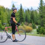 All-City Mr. Pink Road Bike with rider