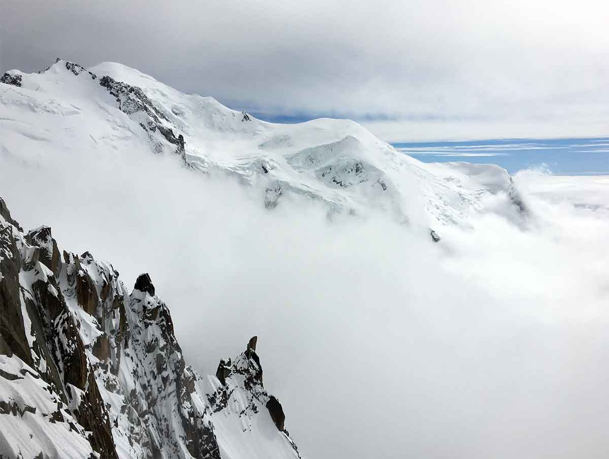 View from Aiguille Du Midi toward summit of Mont Blanc