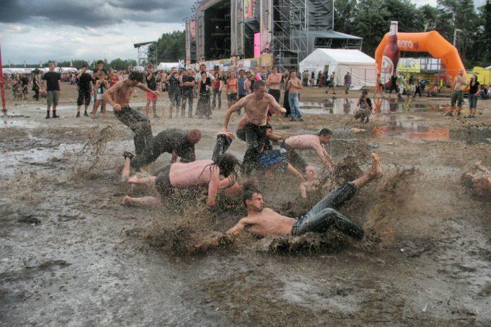 music festival rain mosh
