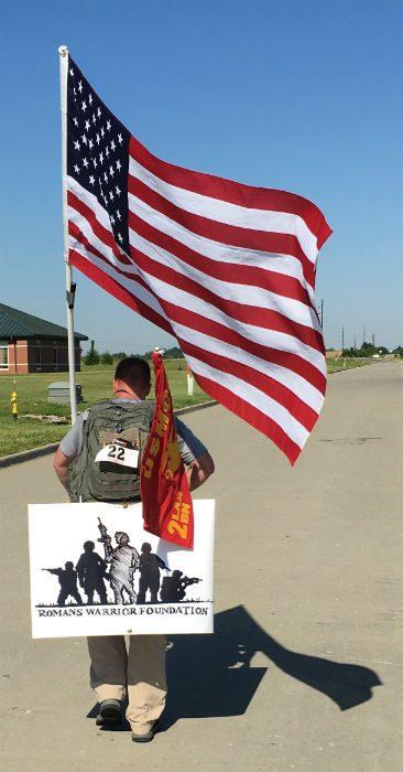romans hiking american flag